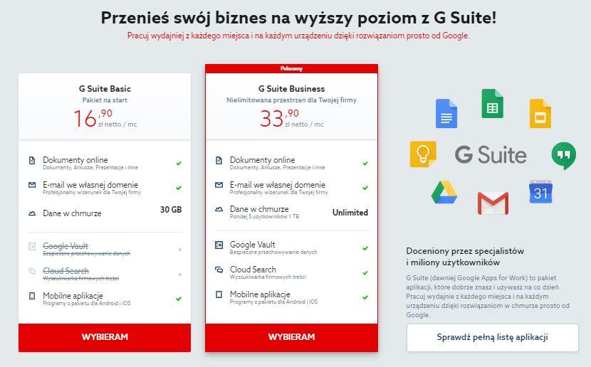 Home.pl - Przykładowa oferta pakietów G Suite