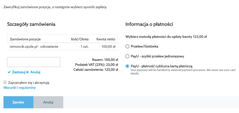 Płatność cykliczna PayU kartą