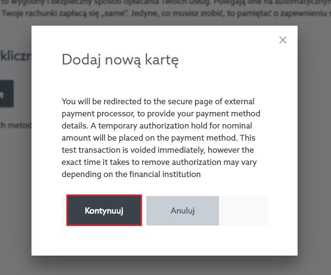 Dodawanie nowej metody płatności w Panelu klienta