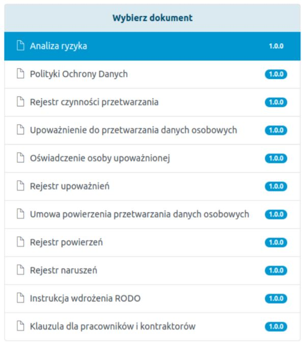 eSklep - Aplikacje - Moje aplikacje - RODO Regulaminy Dokrates - Wybierz dokument - Z listy wybierz dokument, który chcesz pobrać