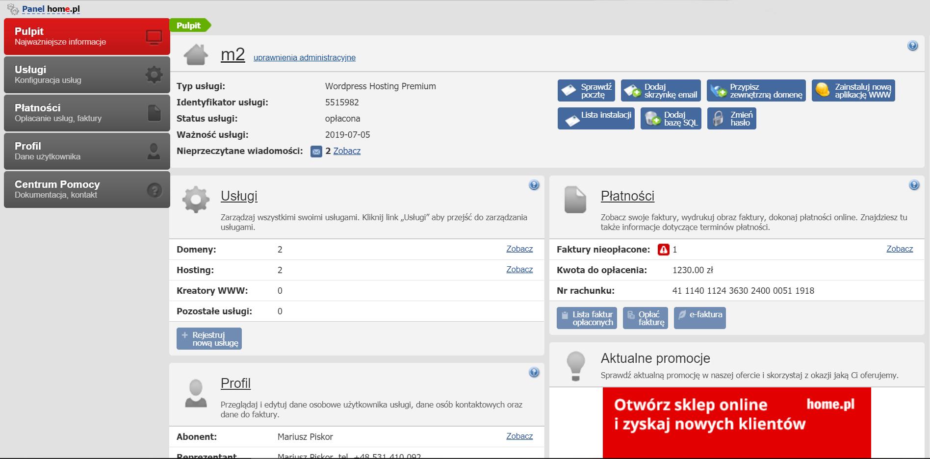 Poprzedni Panel Klienta home.pl - Przykładowy widok pulpitu poprzedniej platformy home.pl