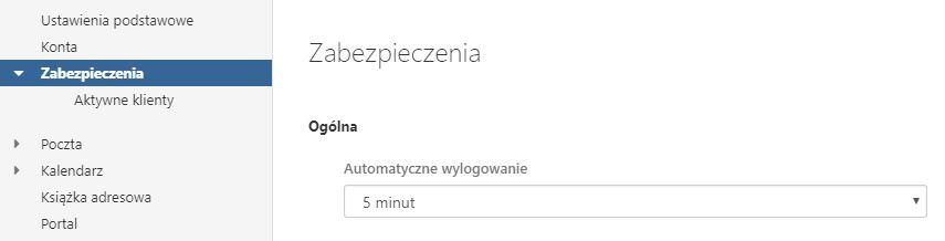 Poczta home.pl - Ustawienia - Zabezpieczenia - Skonfiguruj po jakim czasie nieaktywności ma nastąpić automatyczne wylogowanie z Poczty