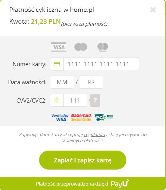 Włączanie płatności cyklicznych podczas opłacania usług