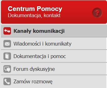 Panel klienta home.pl - Centrum Pomocy - Przejdź do zakładki Kanały komunikacji