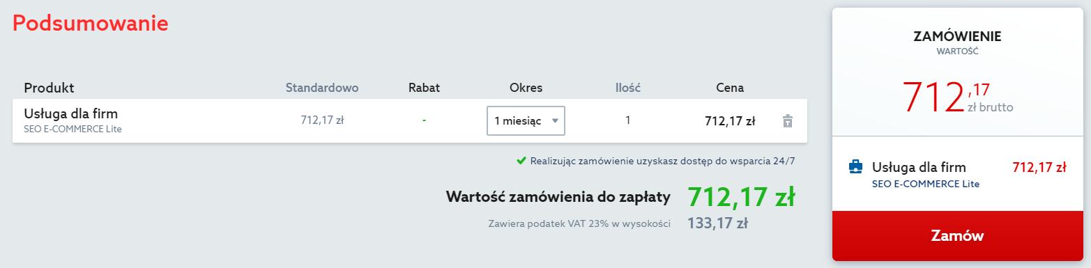 Home.pl - Reklama internetowa - Pozycjonowanie - Sklepy - Oferta - Podsumowanie zamówienia - Sprawdź wyświetlone informacje i kliknij przycisk Zamów