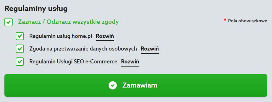 Home.pl - Reklama internetowa - Pozycjonowanie - Sklepy - Oferta - Podsumowanie zamówienia - Identyfikacja klienta - Regulaminy usług - Zaznacz wszystkie zgody i regulaminy