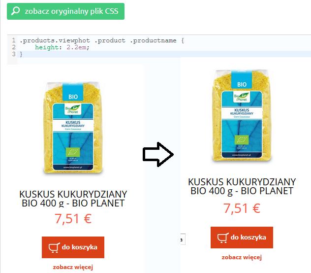eSklep - Przykład powiększenia obszaru z nazwą produktu (dla produktów z długimi nazwami) - Zmień styl CSS