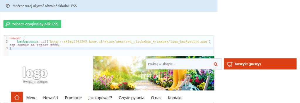 eSklep - Przykład wyrównania zdjęcia nagłówka do lewej krawędzi - Zmień styl CSS