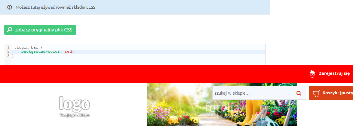 eSklep - Przykład zmiany koloru tła paska w nagłówku - Zmień styl CSS