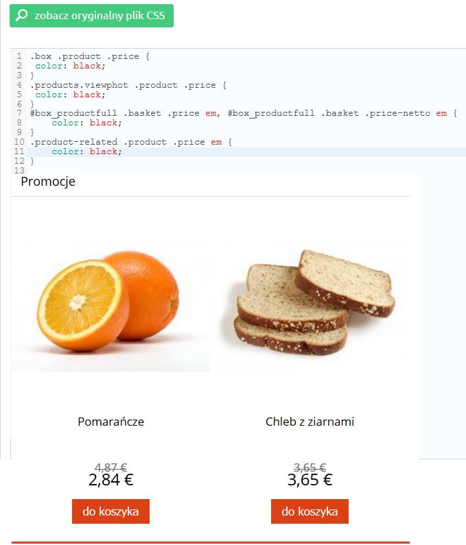 eSklep - Przykład zmiany koloru ceny w sklepie - Zmień styl CSS