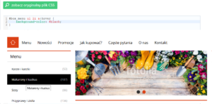 eSklep - Przykład zmiany koloru podświetlenia w menu bocznym - Zmień styl CSS