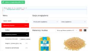 eSklep - Przykład zmiany koloru zaznaczonej kategorii - Zmień styl CSS