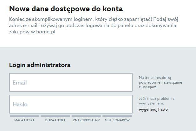 Home.pl - Menu - Oferta - Wybieram - Przechodzę do koszyka - Zamów - Identyfikacja klienta - Utwórz konto - Zdefiniuj nazwę loginu oraz hasło dostępu
