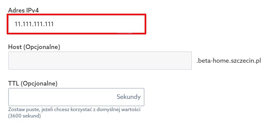 Panel klienta home.pl - Domeny - Hosting DNS - Opcje - Zarządzaj rekordami - Dodaj nowy rekord - Rekord A - Podaj Adres IPv4 serwera, na którym znajduje się strona WWW