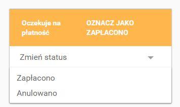 Click Web - Sklep - Zarządzaj zamówieniami - Karta zamówienia - Przykładowy status zamówienia o kolorze żółtym - Oczekuje na płatność
