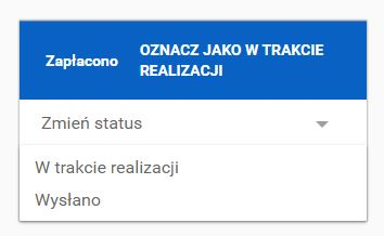 Click Web - Sklep - Zarządzaj zamówieniami - Karta zamówienia - Przykładowy status zamówienia o kolorze niebieskim - Zapłacono