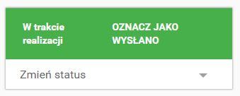 Click Web - Sklep - Zarządzaj zamówieniami - Karta zamówienia - Przykładowy status zamówienia o kolorze zielonym - W trakcie realizacji