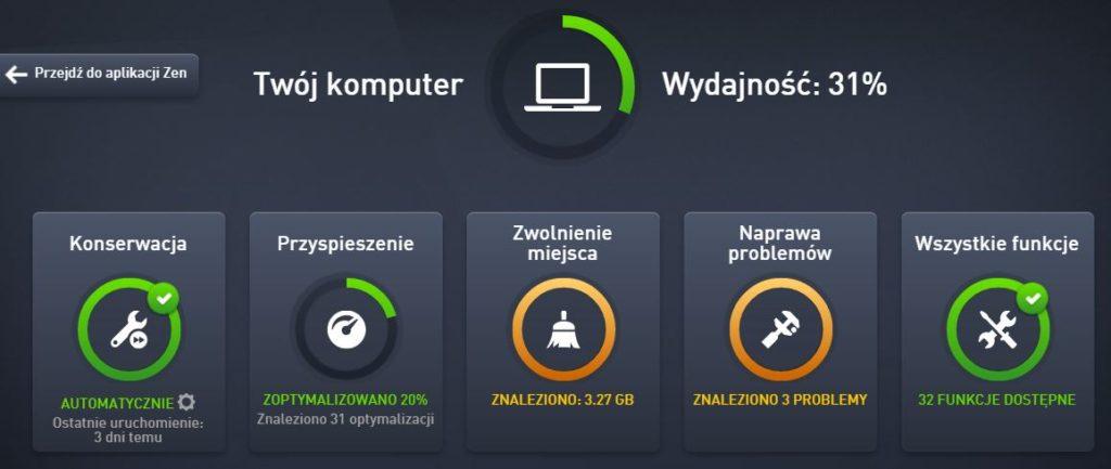AVG PC TuneUp - Wydajność - Przykładowy widok ekranu głównego programu AVG