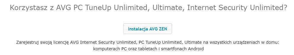 AVG - Rejestracja - Kliknij w przycisk Instalacja AVG ZEN