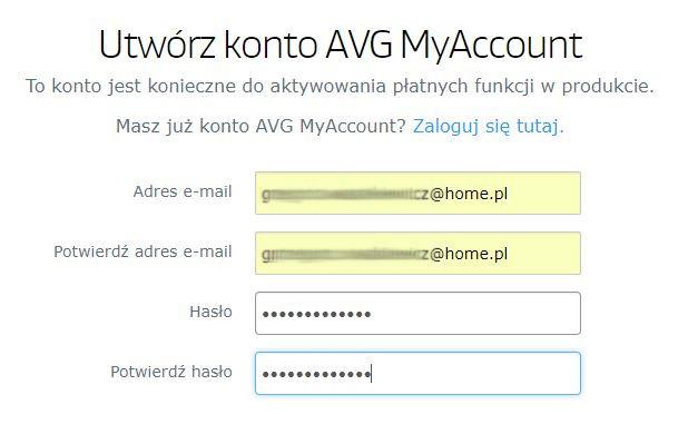 AVG - Rejestracja - Instalacja AVG ZEN - Aktywacja produktu - Utwórz konto AVG MyAccount - Uzupełnij formularz