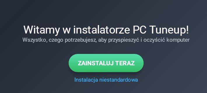 AVG - Plik instalacyjny - Witamy w instalatorze PC Tuneup - Kliknij przycisk Zainstaluj teraz