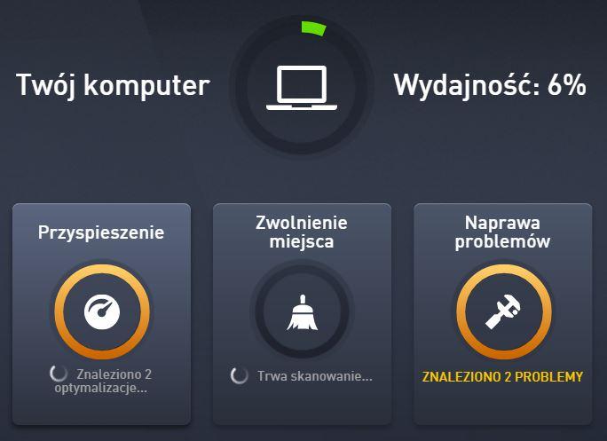 AVG PC TuneUp - Przykładowy widok główny włączonej aplikacji