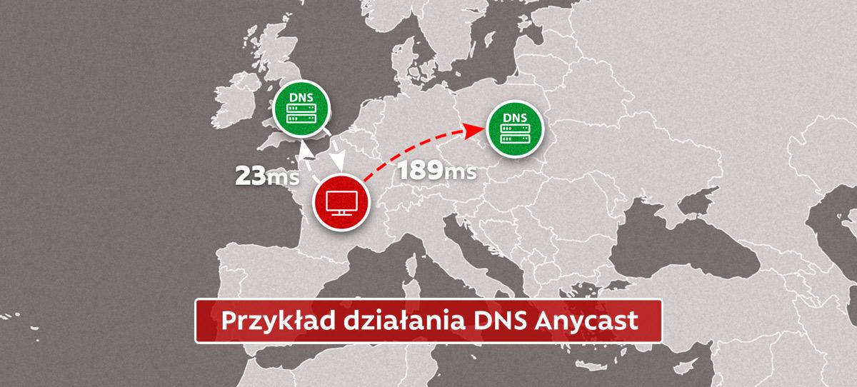 DNS Anycast - Przykład działania przedstawiony na mapie