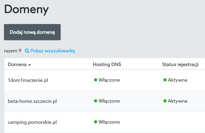Panel klienta home.pl - Domeny - Kliknij nazwę domeny, dla której chcesz włączyć DNS Anycast
