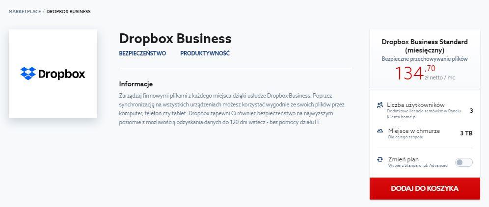 Marketplace home.pl - Dropbox Business - Kliknij przycisk Dodaj do koszyka