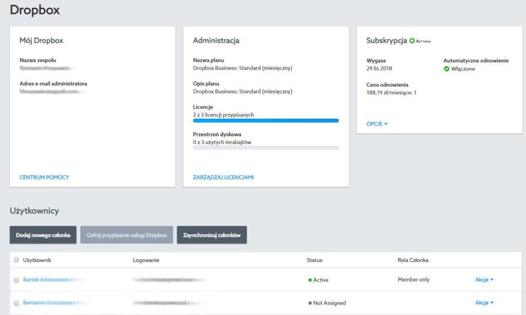 Panel Klienta home.pl - Przejdź do zakładki menu Dropbox