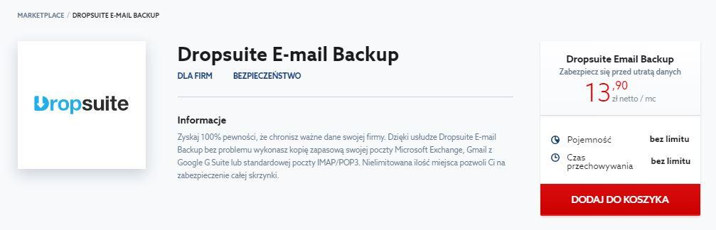 Marketplace od home.pl - Dropsuite E-mail Backup - Kliknij przycisk Dodaj do koszyka