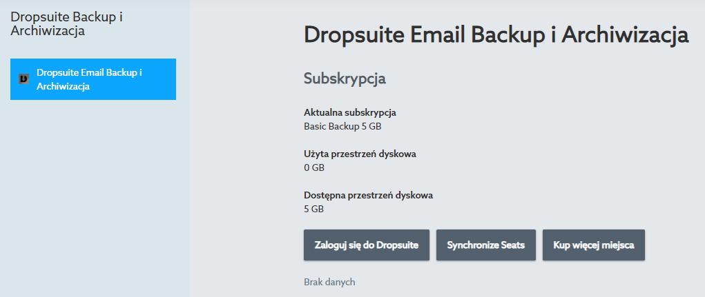 Pierwsze uruchomienie Dropsuite Backup