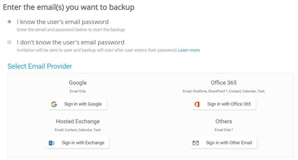 Panel klienta Dropsuite - Dashboard - Add Backup - Wybierz rodzaj konfiguracji jaką chcesz wykonać