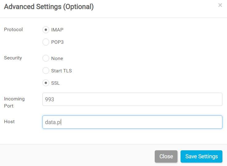 Panel klienta Dropsuite - Dashboard - Add Backup - Wprowadź nazwy serwerów poczty Email