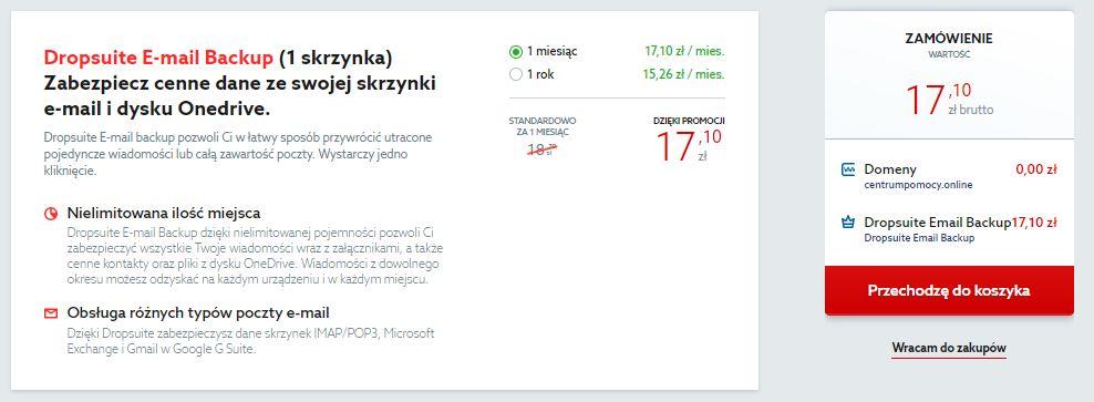 Marketplace od home.pl - Dropsuite E-mail Backup - Zamówienie - Zmień okres abonamentowy lub wróć do zakupów i dodaj kolejną usługę