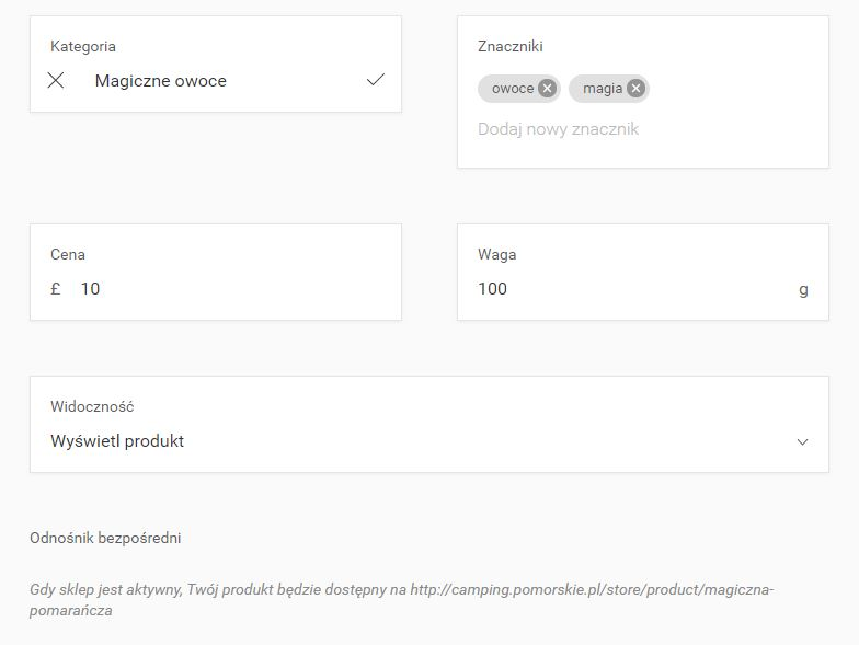 Kreator WWW - Sklep - Produkty - Dodaj nowy produkt - Podstawowe informacje - Uzupełnij informacje o cenie, znacznikach i wadze produktu