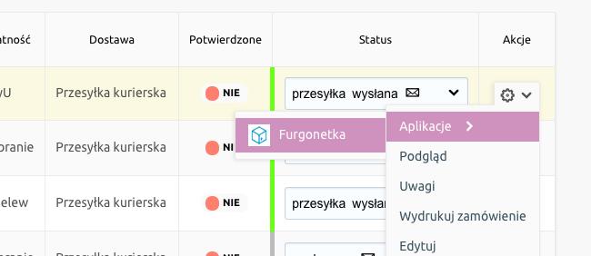 eSklep - Sprzedaż - Zamówienia - Aplikacje - Wybierz opcję Furgonetka