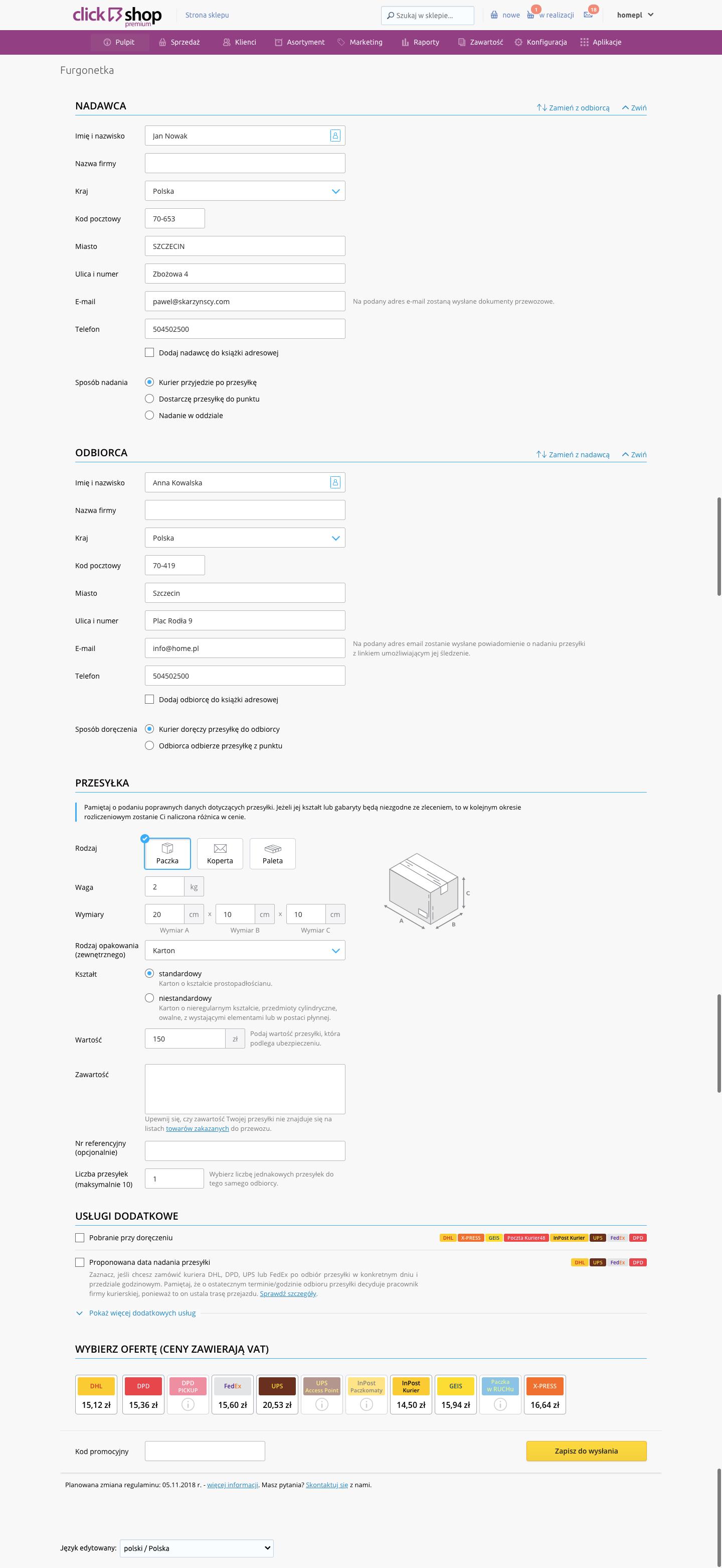 eSklep - Sprzedaż - Zamówienia - Aplikacje - Furgonetka - Logowanie - Formularz - Uzupełnij wszystkie parametry przesyłki