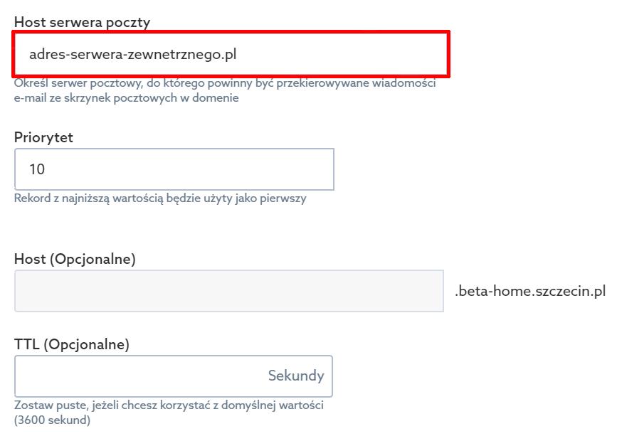 Panel klienta home.pl - Domeny - Hosting DNS - Opcje - Zarządzaj rekordami - Dodaj nowy rekord - Rekord MX - Podaj host serwera poczty, na którym znajduje się poczta e-mail