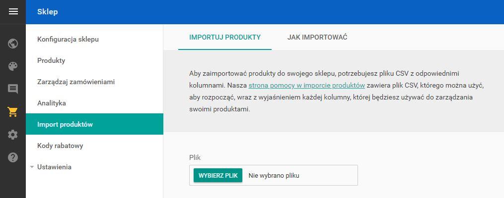 Click Web - Sklep - Import produktów - Dodaj plik CSV