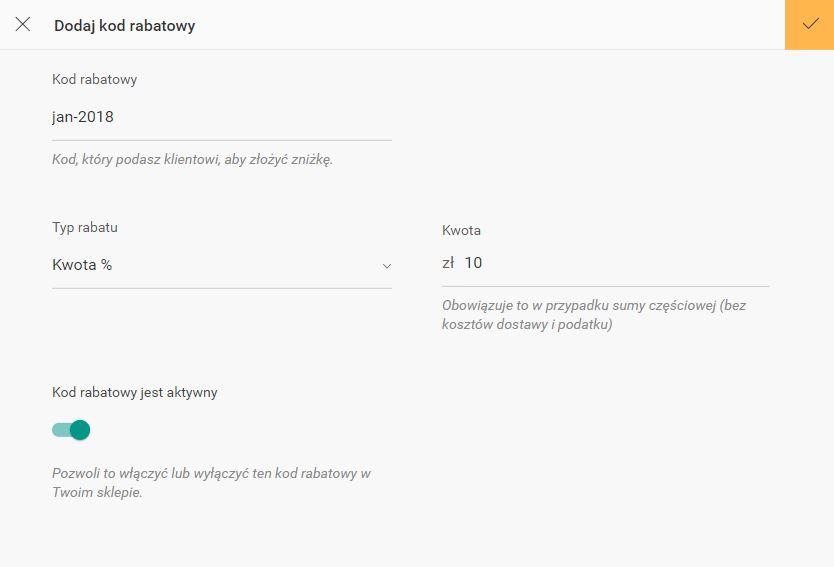 Click Web - Sklep - Kody rabatowe - Dodaj nowy kod rabatowy wskazując jego nazwę, a więc KOD który użytkownik poda na etapie składania zamówienia