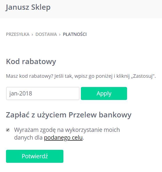 Click Web - Sklep - Przesyłka - Dostawa - Płatności - Kod rabatowy - Przykładowy widok pola z wpisanym kodem rabatowym