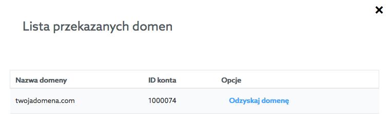 Panel klienta home.pl - Pulpit - Przekazanie Zarządzania - Opcje - Lista przekazanych domen - Kliknij przycisk Odzyskaj domenę przy wybranej pozycji