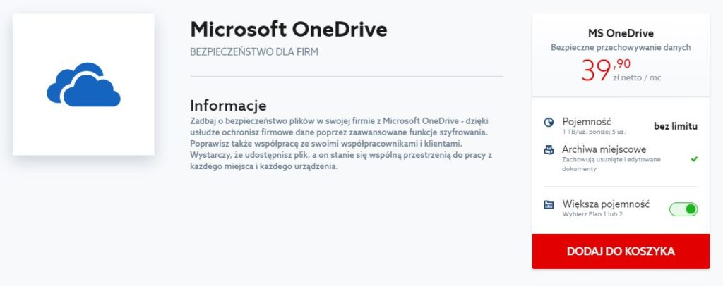 Jak kupić usługę Microsoft OneDrive?
