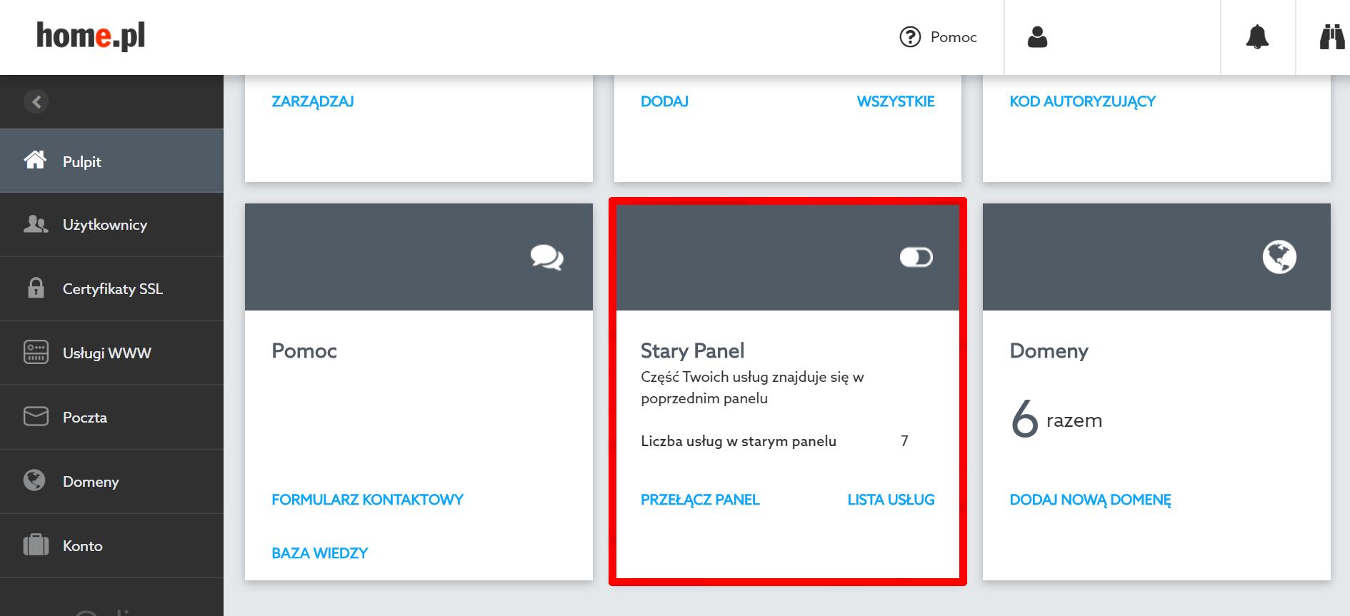 Jak przełączyć Panel Klienta, gdy mam usługi w kilku panelach?