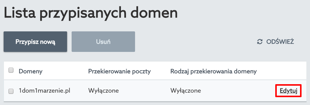 Panel klienta home.pl - Usługi WWW - Nazwa serwera - Przypisane domeny - Lista przypisanych domen - Kliknij przycisk Edytuj