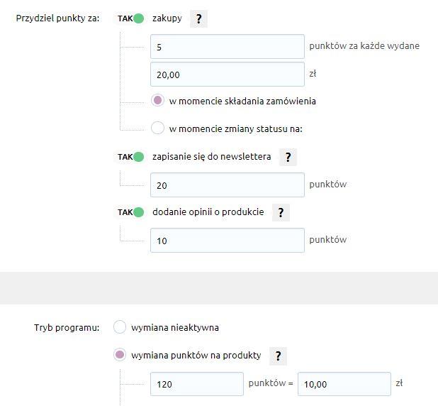 eSklep - Konfiguracja - Marketing - Skonfiguruj ustawienia programu lojalnościowego