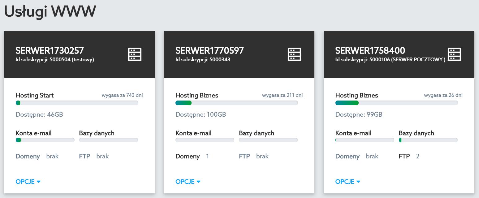 Panel klienta home.pl - Usługi WWW - Kliknij w wybraną nazwę serwera