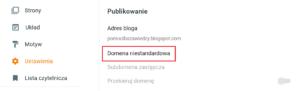 Ustawienia w serwisie Blogger