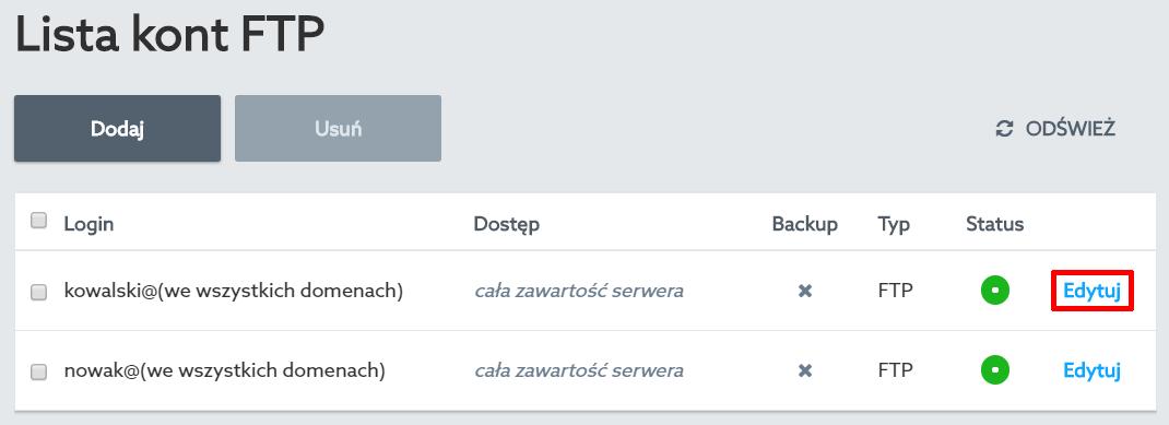 Panel klienta home.pl - Usługi WWW - Nazwa serwera - Konta FTP - Opcje - Lista kont FTP - Kliknij przycisk Edytuj przy wybranym koncie FTP